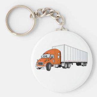 Semi Truck Orange White Trailer Cartoon Basic Round Button Key Ring