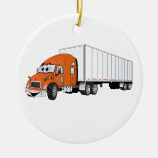 Semi Truck Orange White Trailer Cartoon Christmas Ornament