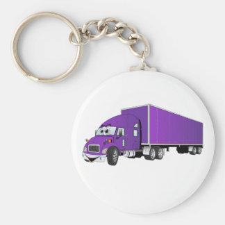 Semi Truck Purple Trailer Cartoon Key Chains