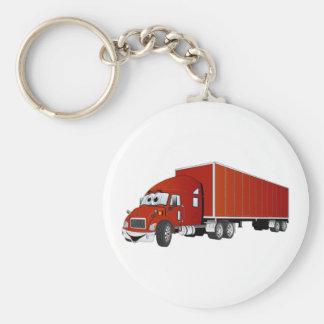 Semi Truck Red Trailer Cartoon Basic Round Button Key Ring