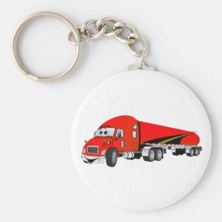 Semi Truck Roadway Tanker Red Cartoon Keychains