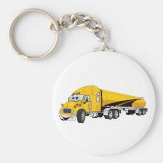 Semi Truck Roadway Tanker Yellow Cartoon Key Chains