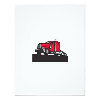 Semi Truck Tractor Low Angle Retro 11 Cm X 14 Cm Invitation Card