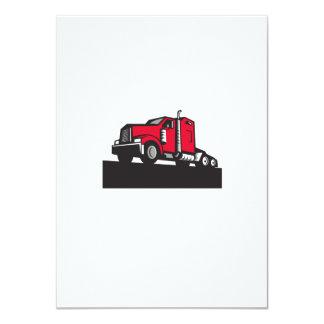 Semi Truck Tractor Low Angle Retro 11 Cm X 16 Cm Invitation Card