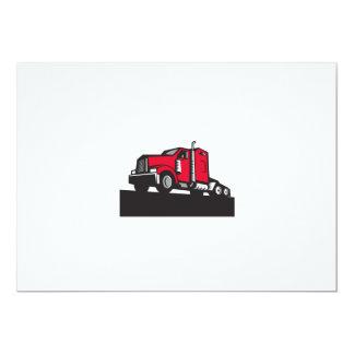 Semi Truck Tractor Low Angle Retro 13 Cm X 18 Cm Invitation Card