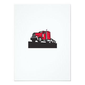 Semi Truck Tractor Low Angle Retro 14 Cm X 19 Cm Invitation Card