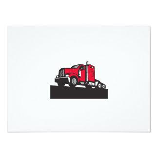 Semi Truck Tractor Low Angle Retro 17 Cm X 22 Cm Invitation Card