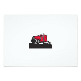 Semi Truck Tractor Low Angle Retro 9 Cm X 13 Cm Invitation Card