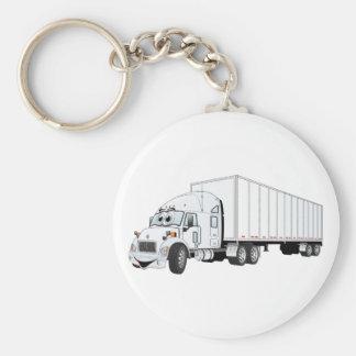 Semi Truck White Trailer Cartoon Basic Round Button Key Ring