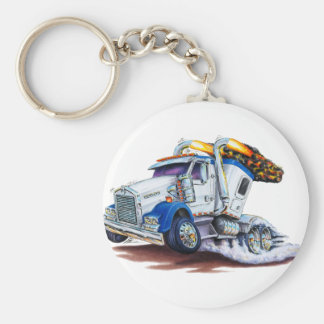 Semi Truck with Sleepercab Basic Round Button Key Ring