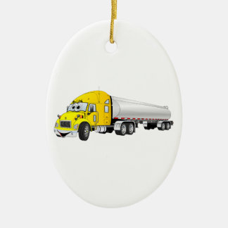Semi Truck Yellow Silver Tanker Trailer Cartoon Christmas Ornament