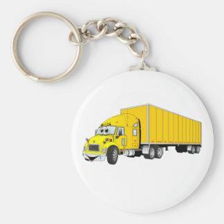 Semi Truck Yellow Trailer Cartoon Keychain