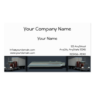 Semi Trucks on Steel Colored Border Business Card Template