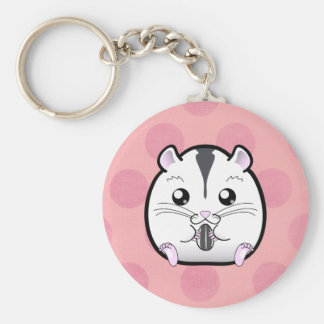Semi White Russian Dwarf Hamster Basic Round Button Key Ring