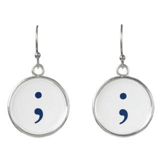 Semicolon - Dark Blue Earrings