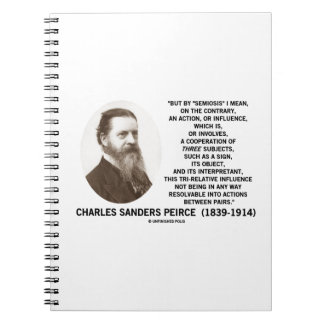 Semiosis Three Subjects Sign Object Peirce Quote Spiral Note Book