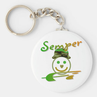 Semper Fi Basic Round Button Key Ring