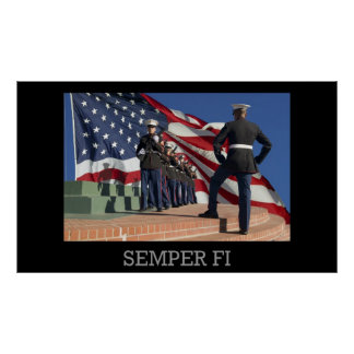 Semper Fi - Rifle Squad and flag Poster
