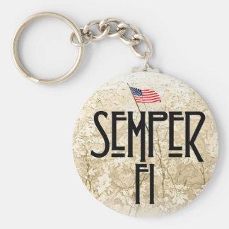Semper Fifelis Basic Round Button Key Ring