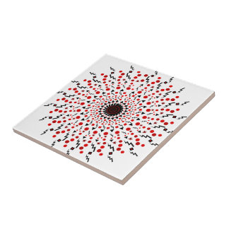 Send it red and black rays small square tile