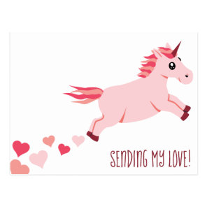Sending Love Pink Unicorn Hearts Postcard
