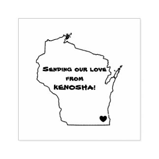 SENDING OUR LOVE FROM KENOSHA RUBBER STAMP