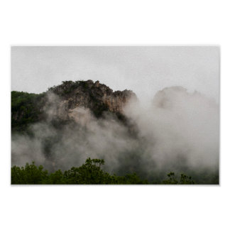 Seneca Rocks in cloud, West Virginia. Poster