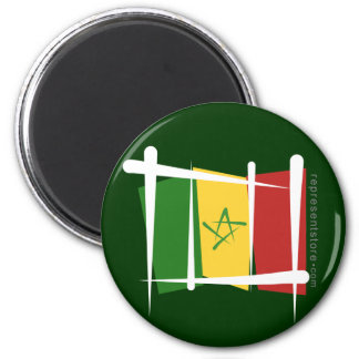 Senegal Brush Flag 6 Cm Round Magnet
