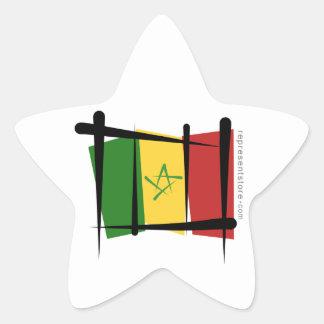 Senegal Brush Flag Star Sticker
