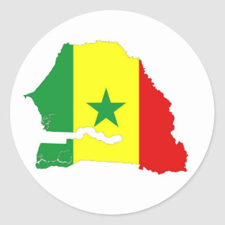 senegal country flag map shape silhouette classic round sticker