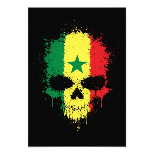 Senegal Dripping Splatter Skull Custom Announcements