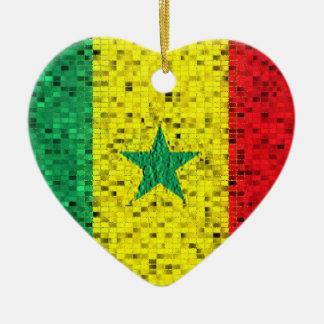 Senegal Flag glitter ornament