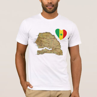 Senegal Flag Heart and Map T-Shirt