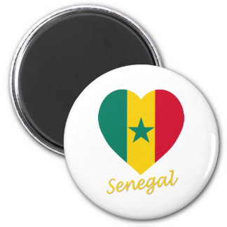 Senegal Flag Heart Magnet