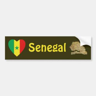 Senegal Flag Heart + Map Bumper Sticker