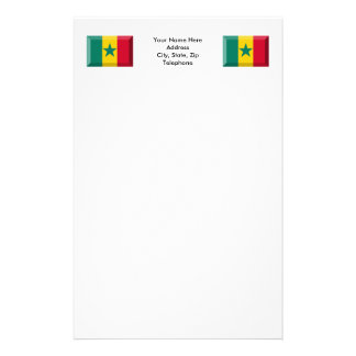Senegal Flag Jewel Personalized Stationery