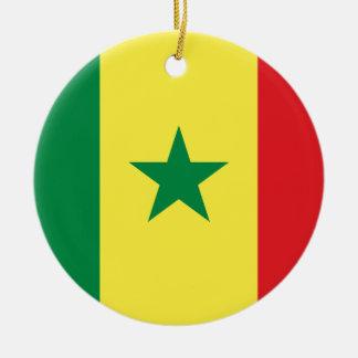 Senegal Flag Round Ceramic Decoration