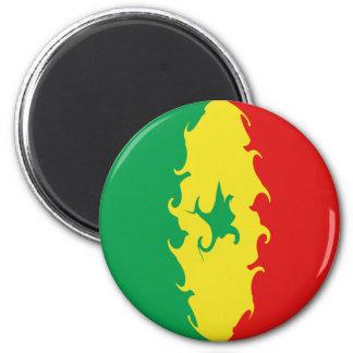 Senegal Gnarly Flag 6 Cm Round Magnet