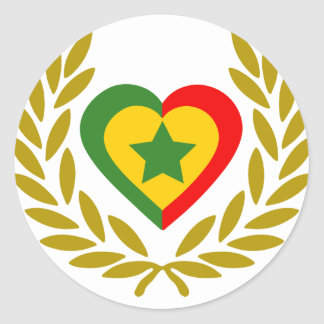senegal-laurel-heart classic round sticker