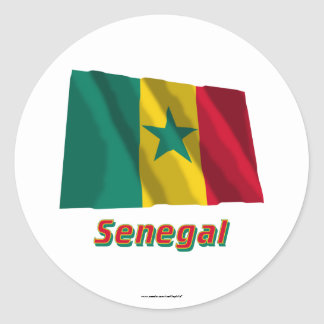 Senegal Waving Flag with Name Classic Round Sticker
