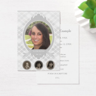 senescence photo memorial announcements business card