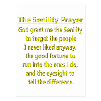 Senility Prayer Postcard