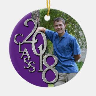 Senior 2018 Purple and Silver Graduate Photo Christmas Ornament