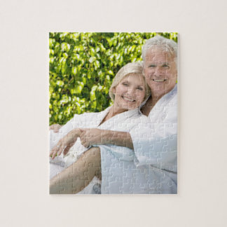 Senior Caucasian couple in robes in spa. Jigsaw Puzzles