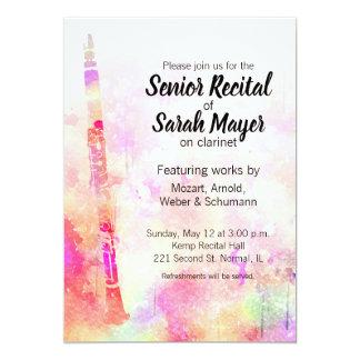 Senior Clarinet Recital Colorful Watercolor Design Card