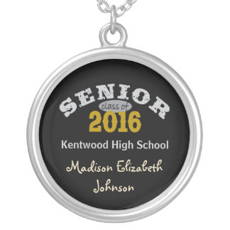 Senior Class of 2016 Yellow Gold Personalized Necklace
