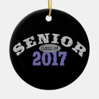 Senior Class of 2017 Purple Round Ceramic Decoration
