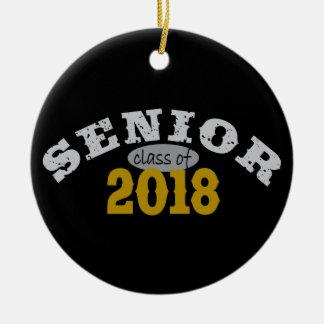 Senior Class of 2018 Yellow Gold Round Ceramic Decoration