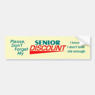 SENIOR DISCOUNT Bumper Sticker Car Bumper Sticker