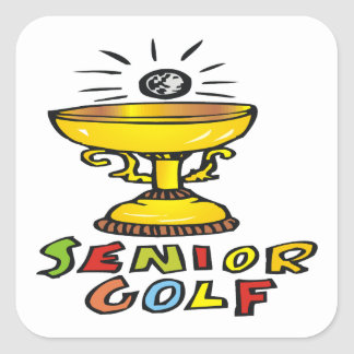 Senior Golf Trophy Square Sticker